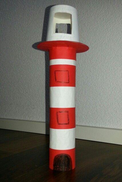 Leuchtturm aus Haushaltsrolle. Die Rolle habe ich mit weissem und rotem Papier beklebt. Die Plattform ist aus Karton. Darauf steht ein kleiner Espresso Pappbecher, in den ich Fenster geschnitten habe. Als Leuchtmittel dient ein kleines LED Kerzlein.