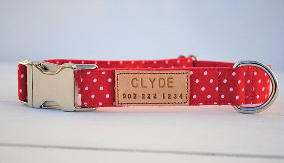 Cherry red dog collar, red polka dot dog collar, polka dots, polka dot pattern, personalized gift, red, male dog collar, girl dog collar