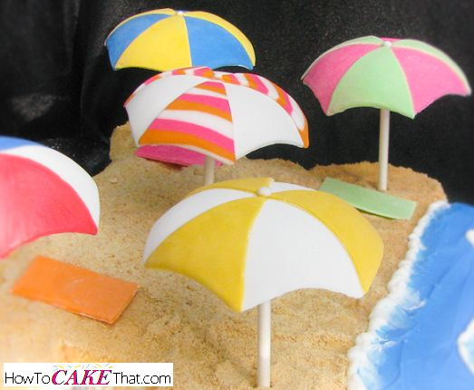 Super cute 3D fondant umbrellas you can customize... perfect for a summertime beach cake! Free easy to follow photo step-by-step tutorial!