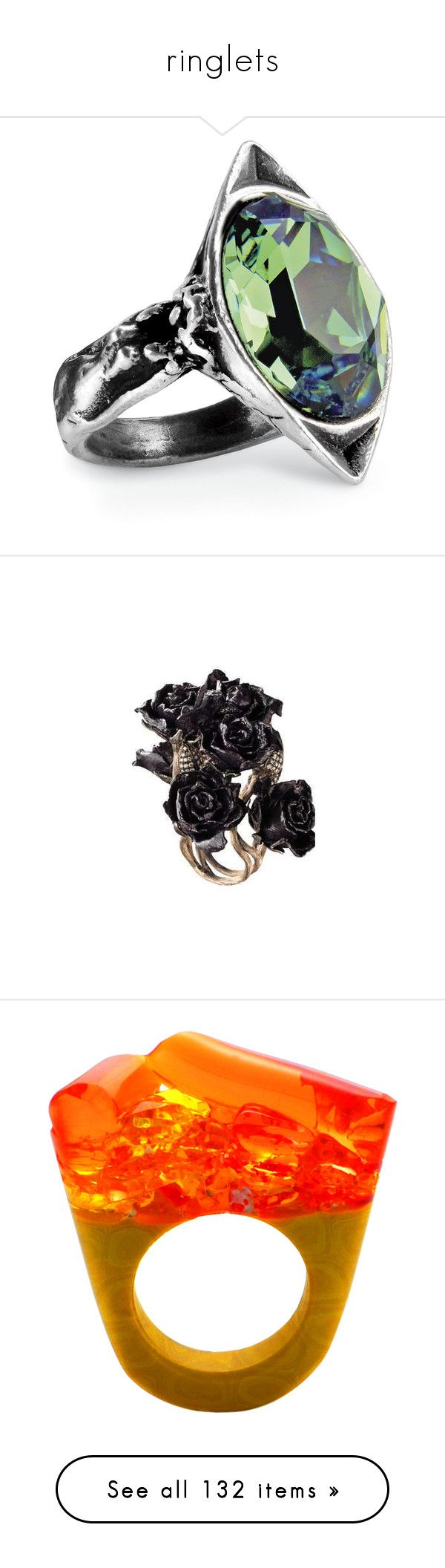 """ringlets"" by applecocaine ❤ liked on Polyvore featuring jewelry, rings, pyramid jewelry, accessories, anillos, jewels, orange, murano glass jewelry, orange ring and murano glass rings"