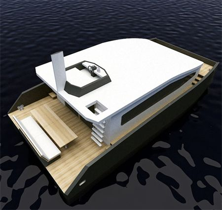 12M Houseboat Features Excellent Living Environment on the Sea The 12M houseboat concept has been innovatively designed with the logic of a catamaran, aiming to give the usual houseboat a non-conventional look with great functionalities.