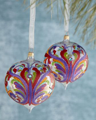 Two+Painted+Butterfly+Christmas+Ornamnets+at+Horchow.