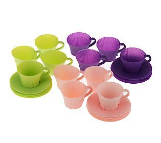 Technique Set of 12 Silicone Tea Cup Cupcake Holders