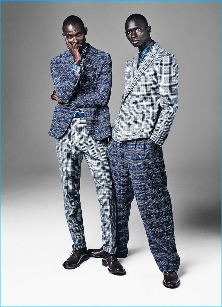 Armando Cabral wears plaid jacket Giorgio Armani, shoes O'Keeffe, shirt and…