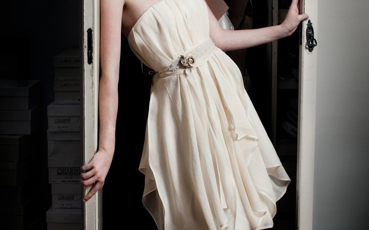 Basic dress Margrethe horizontical draped.Belts differ from client to client
