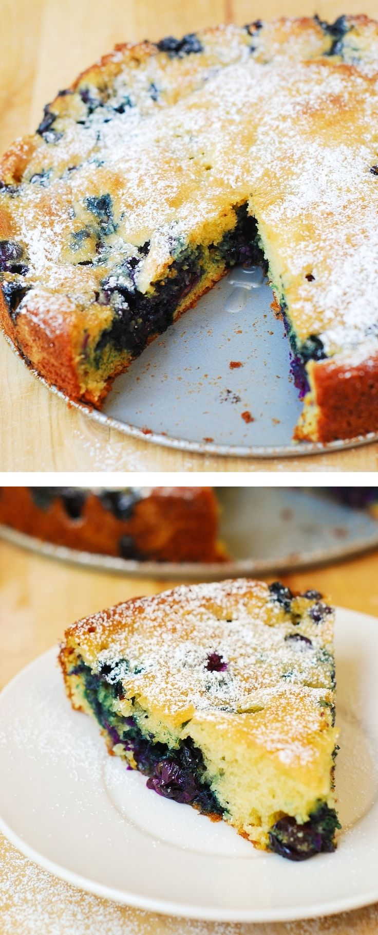Delicious Blueberry Greek Yogurt Cake made in a springform baking pan. Greek yogurt gives a richer texture to the batter! JuliasAlbum.com  #berry_cake #summer_recipes