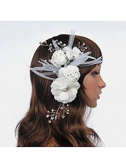 Rosette Style Bridal Hair Flower with Beading - USD $16.99