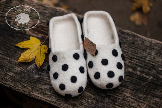White with Black Polka Dots Women's Felted Slippers by CozyPoly