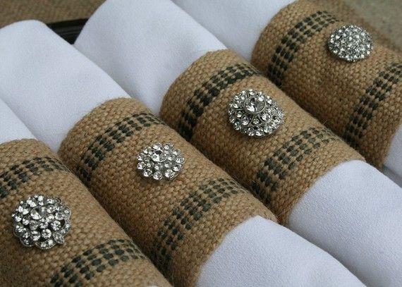 Burlap Napkin Rings with Rhinestones