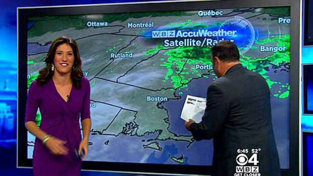 Spider Interrupts WBZ-TV Weather Forecast October 22, 2014