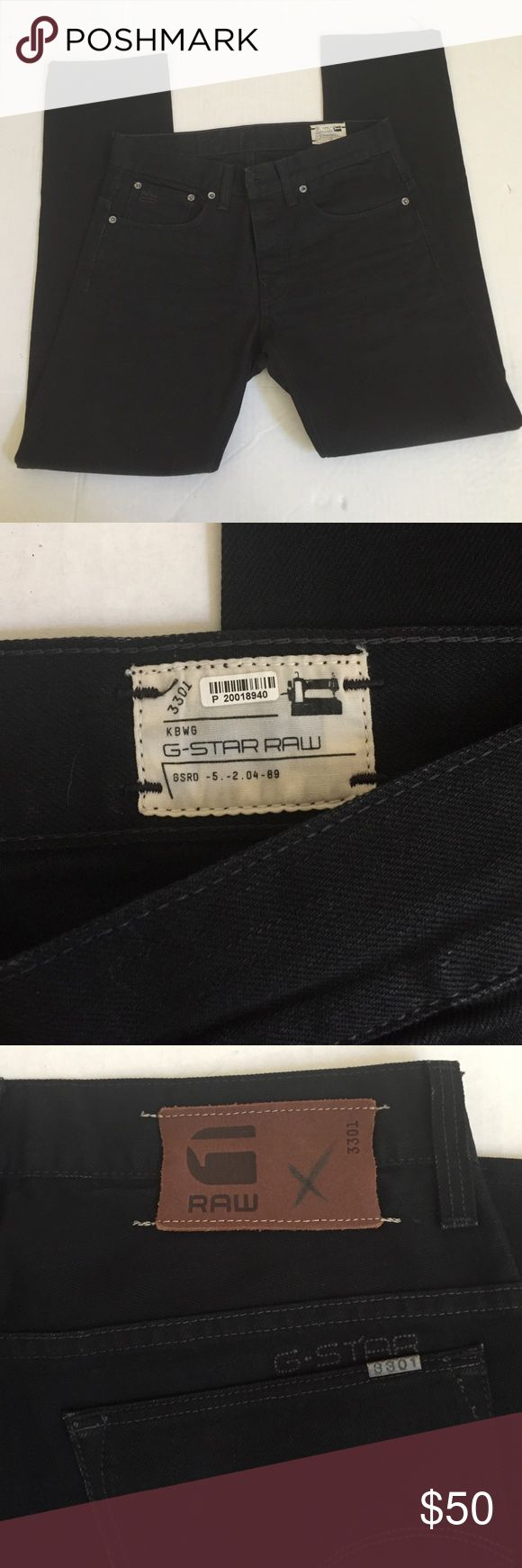 Men's Black G Star Raw jeans Great pair of men's black jeans by G Star Raw! Never worn! Button fly, waist 30 inseam 29 inches G-Star Jeans Slim Straight