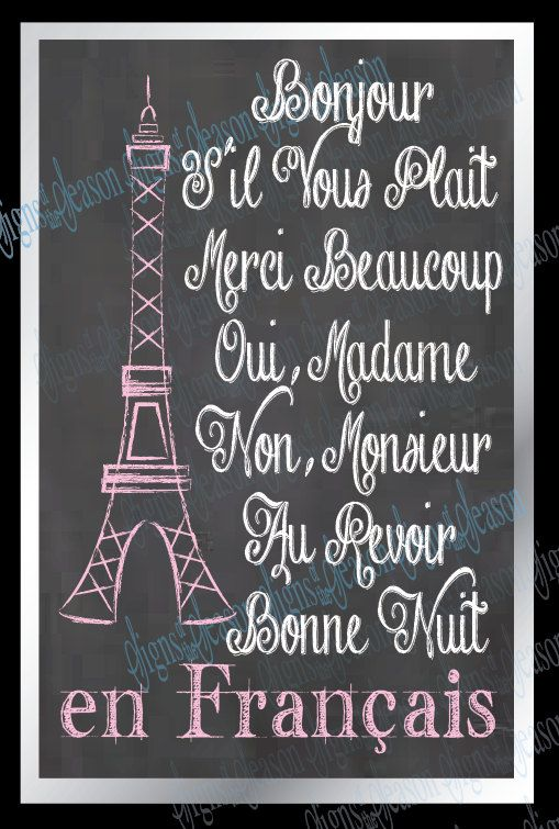 Small sign that accents the other decor well.  French Sayings  Eiffel tower  Paris  French by SignsoftheSeason, $20.50 +13 Shipping