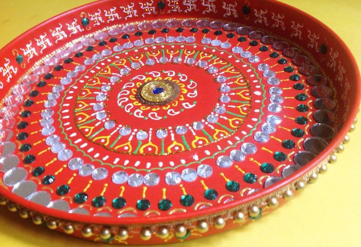 17 best images about pooja thali on pinterest dry fruit for Aarti thali decoration with clay