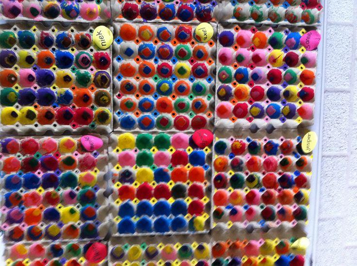 Uma atividade bem legal de fazer com as crianças. Aqui utilizaram bandejas de ovos para as crianças pintarem após estudarem obras de Kandinsky. Também é possível utilizar as bandejas de maçãs.