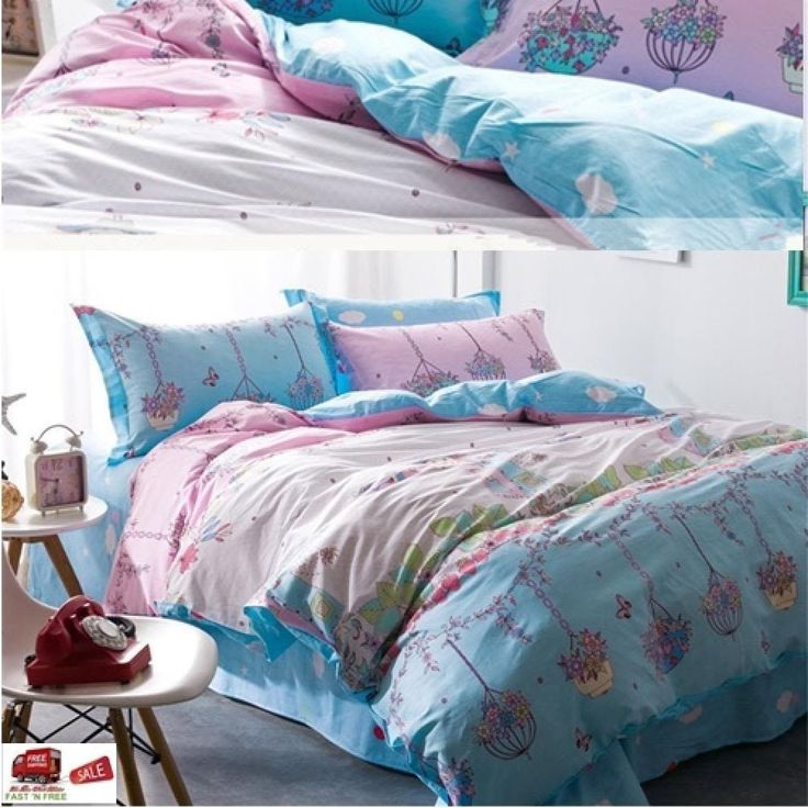 4 PCS Duvet Cover Queen Set Bed Sheet Pillowcases Cotton Flower Floral Cottage #Doesnotapply #Cottage