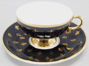 Rudolph Wachter Black & Gold Gilt Fleur dis lis Tea Cup & Saucer Circa 1920 - 24