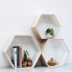 Simple-ensemble-de-3-dempilage-ou-suspendus-hexagone-boites-de-rangement-etageres-murales-rrp-129