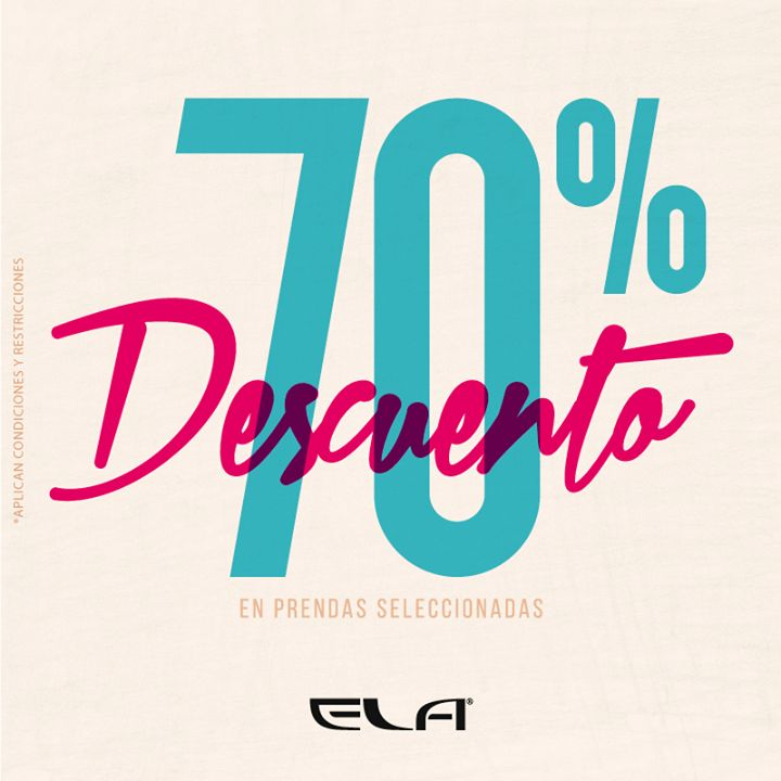 Ela con el 70% de #Descuento en prendas seleccionadas que esperas para visitarnos en Alamedas Centro Comercial #Piensaenti