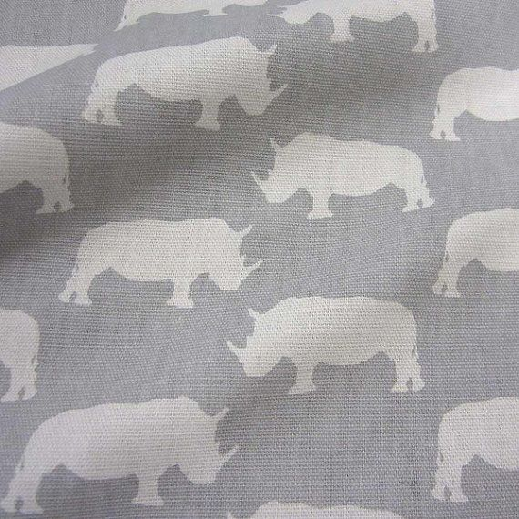 cotton fabric canvas rhino Africa grey Noshörnig Arvidssons