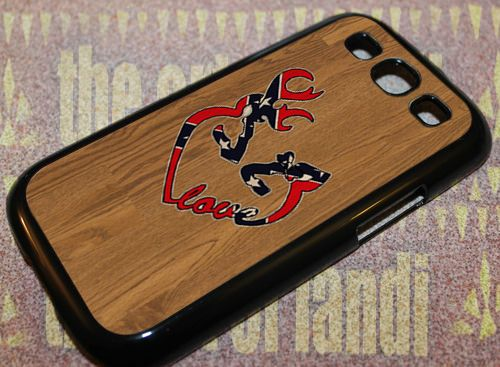 Deer Heart Love Flag Wood For Samsung Galaxy S3 Black Rubber Case