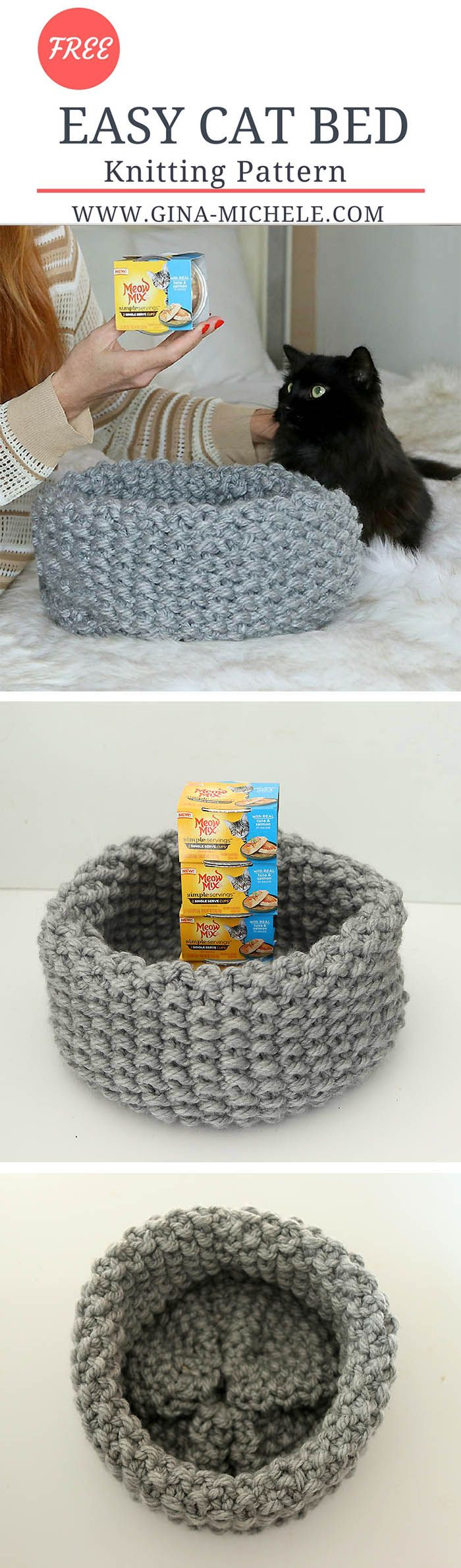 FREE knitting pattern for this Easy Cat Bed. It's knit on straight needles so it's perfect for beginners! #MeowMixatTarget @Target AD