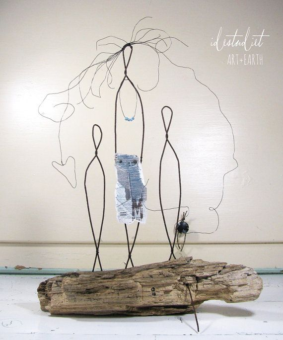 Titled: Motherhood III Year: 2014 ©2014 idestudiet™ ART+EARTH Wire Sculpture on Driftwood