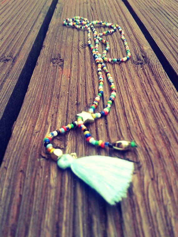 Multi-color tassel necklace blue by InLoveByJussty on Etsy