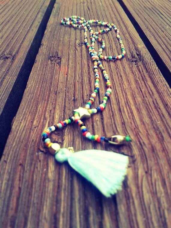 Multi-color tassel necklace blue by InLoveByJussty on Etsy