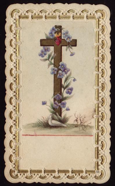 cross/flowers vintage funeral memorial card blank