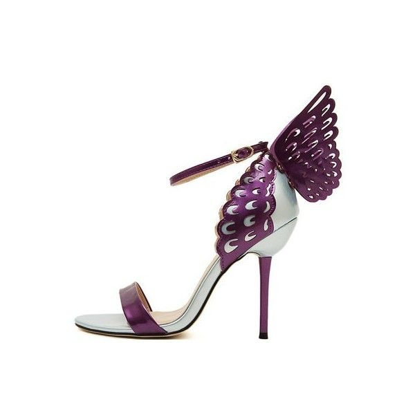 Purple Butterfly Open Toe Ankle Buckle Strap Heels (£24) ❤ liked on Polyvore featuring shoes, pumps, flat shoes, dressy flat shoes, dressy flats, sexy pumps and embellished flats