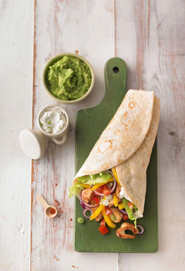 Chicken Wrap with vegetables, Guacamole and Crème fraîche