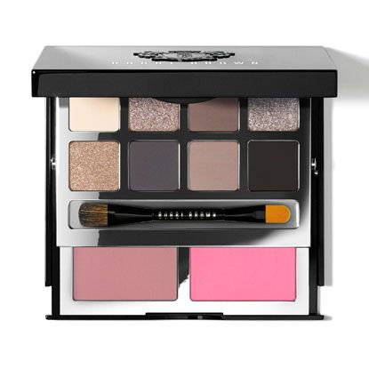 bobbi brown Deluxe Cheek & Eye Palette | 4.470 in. x 3.523 in. $85.00 | For your favorites only—this luxe, two-tiered black palette is packed with a mix of eight iconic and all-new Eye Shadows in matte-to-metallic finishes, plus neutral and pop Blush shades for a super-flattering, natural flush. Embossed with a Bobbi Brown crest, the silver interior compact includes a large mirror and Dual-Ended Eye Shadow/Eye Liner Brush for flawless application.