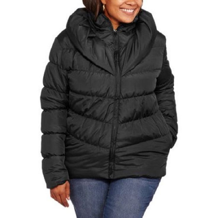 Climate Concepts Women's Puffer Coat, Black 2X
