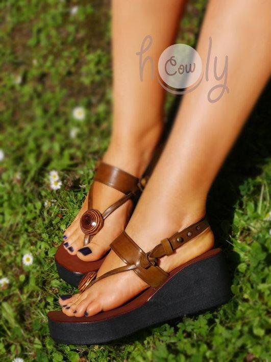 177ae81cd82f Handmade Brown Leather Platform Sandals