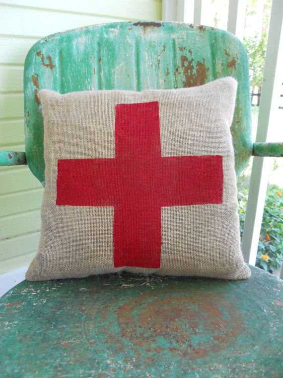 SWISS CROSS Graphic Burlap Throw Accent Pillow Custom Colors Available Home Decor Jackson ...