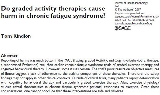 "New peer-reviewed commentary from me: ""Do graded activity therapies cause harm in chronic fatigue syndrome?"" http://journals.sagepub.com/doi/pdf/10.1177/1359105317697323  A lot of this focuses on the PACE trial as I was invited to submit a commentary following Keith Geraghty's PACE-gate piece."