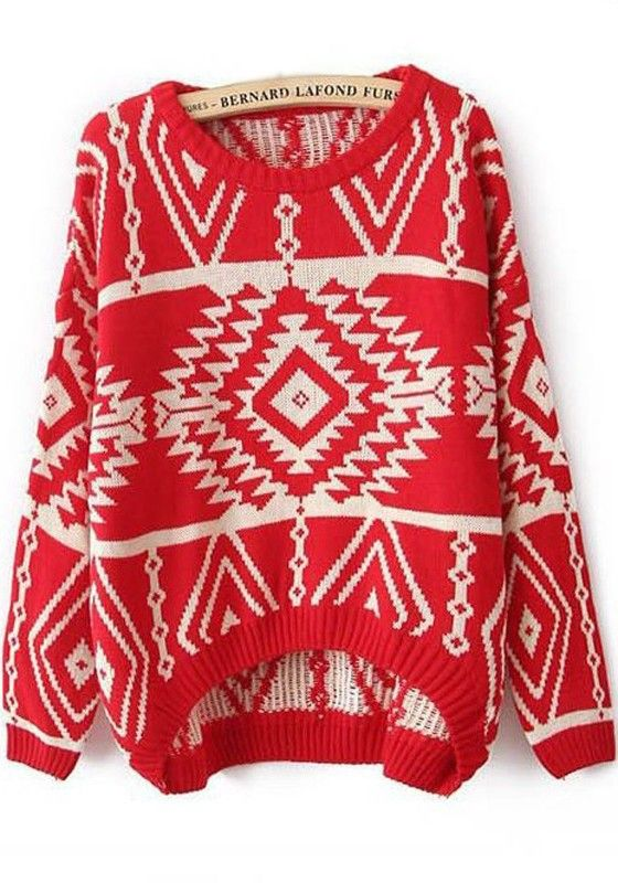 Oversized Loose Knit Sweater LOVE! Great Sweater For layering under a Vest! Red and White Geometric Irregular Round Neck Loose Knit Polyester Sweater #Oversized #Red #Blanket #Pattern #Red_and_White #Geometric #Winter #Holiday #Sweater #Fashion