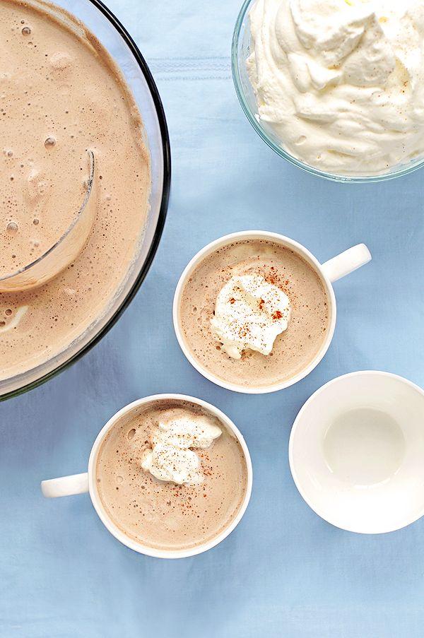 Cafe Mocha Punch - strong coffee, cocoa powder, vanilla, cinnamon, milk, ice cream, whipped cream