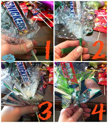 DIY Candy bouquet. Might try this in a coffee cup.
