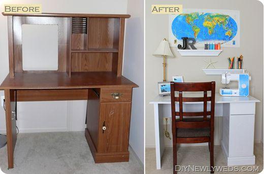 Old computer desk to new craft desk. DIY transformation!