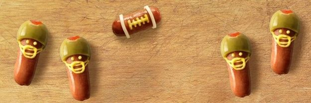 Quarter Pups - football player hot dogs. Tailgating fun for kids!