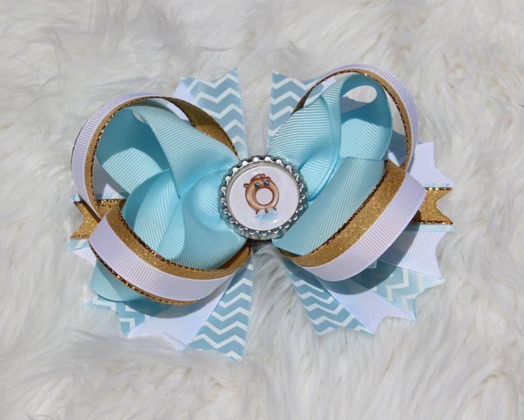 Shopkins hair bow,Shopkins Ring, Layered hair bows,Boutique Hair Bow,Shopkins Bows,Girls hair bows,Shopkins outfit,blue,white,gold,baby blue by LiLcraftsNthings on Etsy