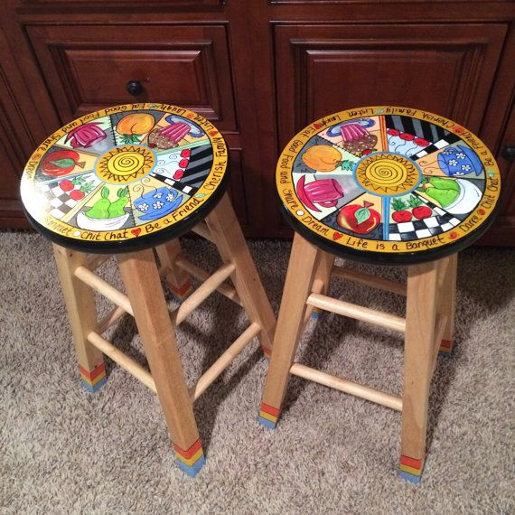 Whimsical Painted Furniture, Painted Bar Stool // Painted Bar Stool // Whimsical  Painted Furniture // Or Painted Stool