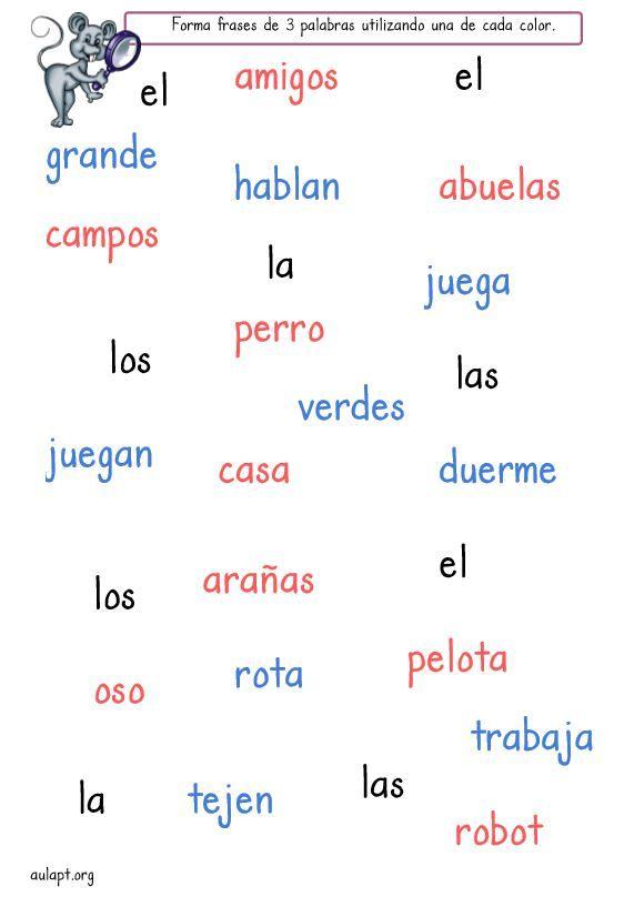 Esta actividad, forma frases de tres palabras, está pensada para la iniciación de la composición escrita. El alumno debe leer comprensivamente cada palabra y buscar