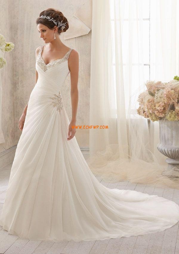 V-ringad Vår Ärmlös Bröllopsklänningar 2014