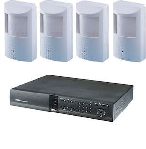 Spy / Nanny Camera system, includes 4 hidden PIR camera's with internet viewing