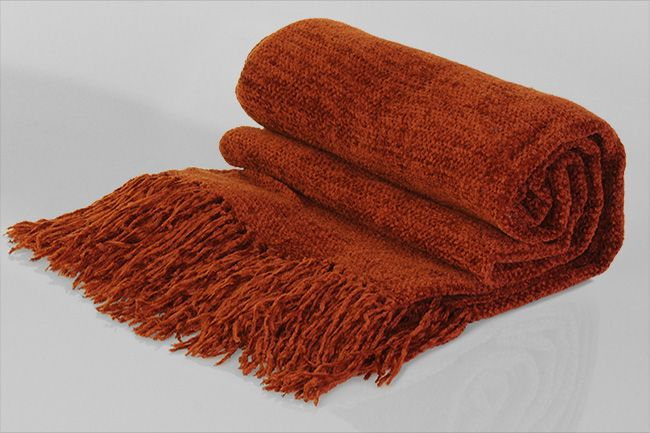 Chenille Throw with frill rustic