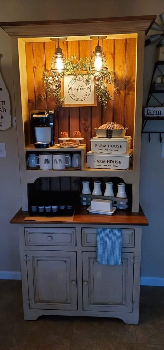 Refurbished Furniture, Repurposed Furniture, Painted Furniture, Coffee Bars In Kitchen, Coffee Bar Home, Coffee Nook, Coffee Corner, Diy Furniture Projects, Furniture Makeover