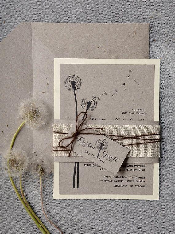 Dandelion Invitation, Rustic Wedding Invitation, Recycling Eco Invitation, Love is in the air Invitation, Burlap Invitations on Etsy, $5.84 AUD