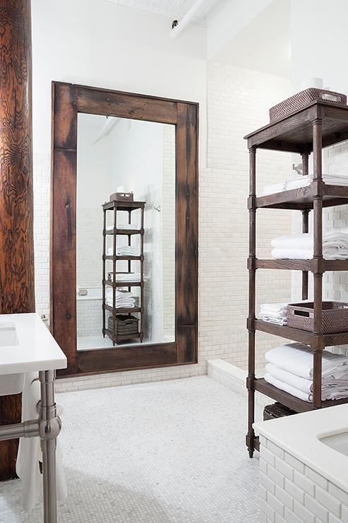 Weathered oak bathroom etagere. 17 Best ideas about Bathroom Etageres on Pinterest   Restroom